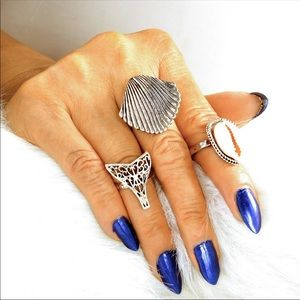 Jewelry - Boho shell silver tone Midi ring set